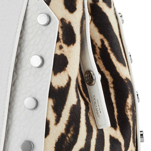 VISTO EN JIMMY CHOO: Optic White Grainy Leather and Snow Leopard Print Pony Handbag