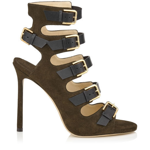 VISTO EN JIMMY CHOO: Army Green Suede and Black Leather Buckled Sandals 2