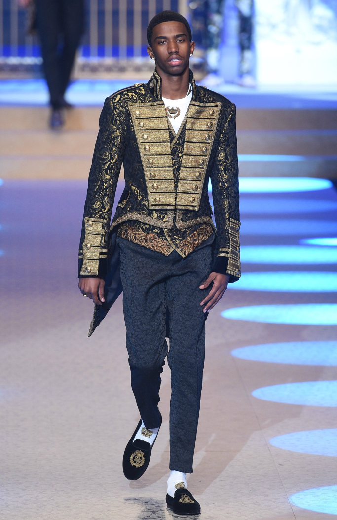 christian combs, dolce and gabbana, milan men's fashion week