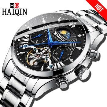 HAIQIN hombres relojes de marca superior automático de lujo/mecánico/reloj de lujo para hombre reloj deportivo reloj de pulsera para hombre tourbillon 2